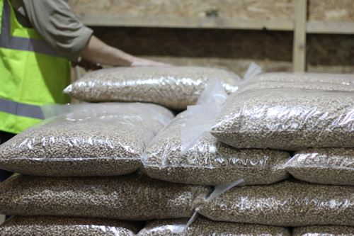 bags of wood pellets